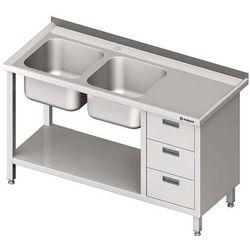 Stół ze zlewem dwukomorowym z trzema szufladami i półką STALGAST 1800x700x850 lewy