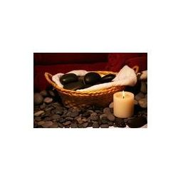 Fotoboard na płycie 70 x 50 cm - Kosz masażu kamienie z świeca