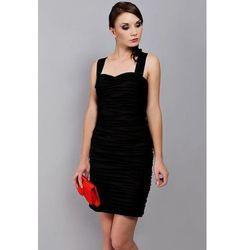 Klasyczna drapowana sukienka z szyfonu Arena Stylu, czarny 923 -5