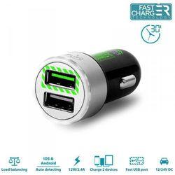 Rovens.pl PURO Mini Car Fast Charger - Uniwersalna ładowarka samochodowa 2 x USB 2.4 A z niebieskim podświetleniem LED round (czarny)