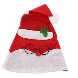 Czapka świąteczna Mikołaj w okularach 30x42 cm