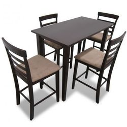 Stół wysoki w kolorze brązowym + Wysokie krzesła (x4) Zapisz się do naszego Newslettera i odbierz voucher 20 PLN na zakupy w VidaXL!