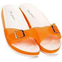 WISHOT pomarańczowe klapki damskie basenowe plażowe - pomarańczowy