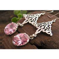 MANUELA - srebrne kolczyki z różowym kryształem Swarovskiego
