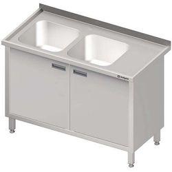 Stół ze zlewem dwukomorowym z szafką STALGAST 1100x700x850 lewy