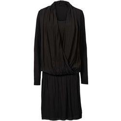 Sukienka z dżerseju z szyfonem bonprix czarny