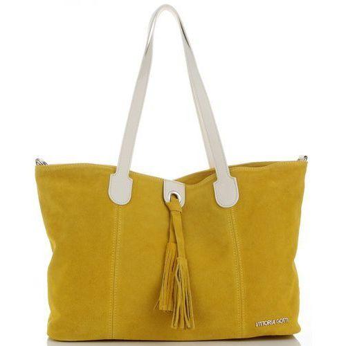 8afebc8546453 Uniwersalna Torebka Skórzana typu Shopper na co dzień włoskiej marki Vittoria  Gotti Żółty (kolory)