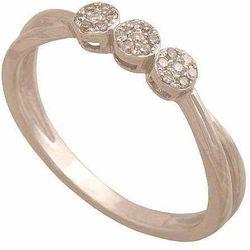 Pierścionek z białego złota z brylantami 30905