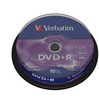 Płyta DVD+R Verbatim 4,7GB x16 Cake Advanced Azo 10szt.