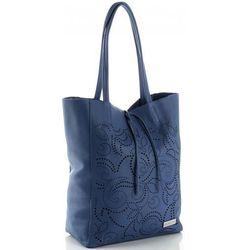 5ce30782467c6 Modne Ażurowe Torebki Skórzane ShopperBag firmy Vittoria Gotti Jeansowe  (kolory)