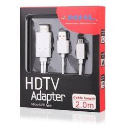 Global Technology Kabel HDMI MHL microUSB(2m)z zasilaniem 5pin Sony, HTC, Huawei DARMOWA DOSTAWA DO 400 SALONÓW !!