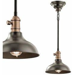 Industrialna LAMPA wisząca KLCOBSONMP OZ Elstead KICHLER metalowa OPRAWA loftowa ZWIS kopuła brąz