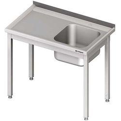 Stół ze zlewem jednokomorowym bez półki STALGAST 700x600x850 prawy