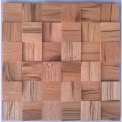 Panele drewniane Buk Twardzielowy kostka 3D *019 - Natural Wood Panels