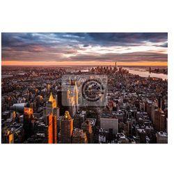 Plakat Widok z lotu ptaka na Manhattan o zachodzie słońca