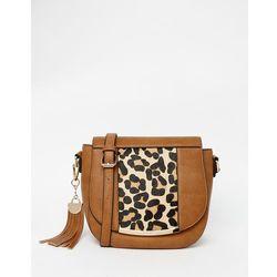 Dune Saddle Bag With Leopard Panel - Tan