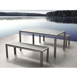 Aluminiowe meble ogrodowe szare z dwiema lawkami, Polywood, NARDO