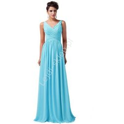 Długa turkusowa suknia na wesele | suknie wieczorowe | sukienki dla druhen , świadkowych