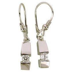 Kolczyki srebrne wiszące z cyrkonią O12