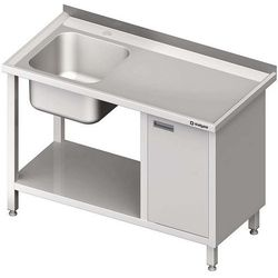 Stół ze zlewem jednokomorowym z szafką i półką STALGAST 1300x700x850 lewy
