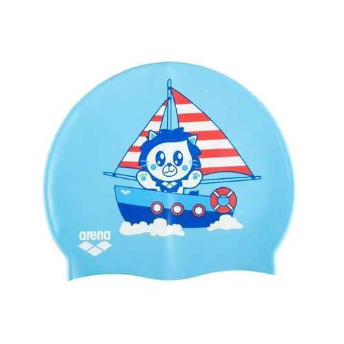 ARENA CZEPEK SILIKONOWY PRINT JUNIOR KUN LIGHT BLUE