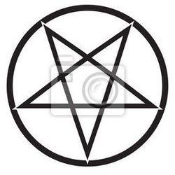 Plakat płonący pentagram wektor