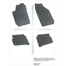 Dywaniki gumowe czarne z kompletem stoperów - Skoda Fabia (I) 2000-2007